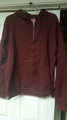 MENS CHAMPION  MAROON FULL ZIP HOODIE SWEATSHIRT SIZE LARGE