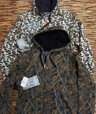 DUCK DYNASTY MENS THICK FUR LINED COTTON/POLY ZIP-UP CAMO LO