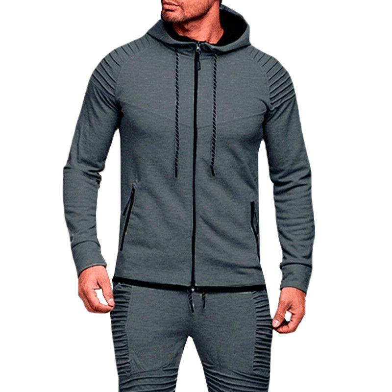Men's Full Zip Hoodie Hooded Zipper Tops