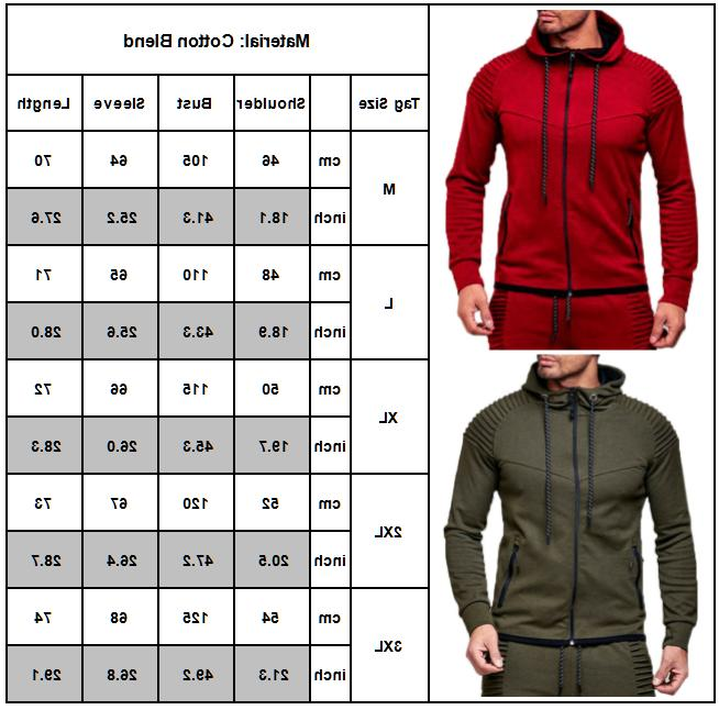 Men's Full Zip Hoodie Hooded Long Sports Tops