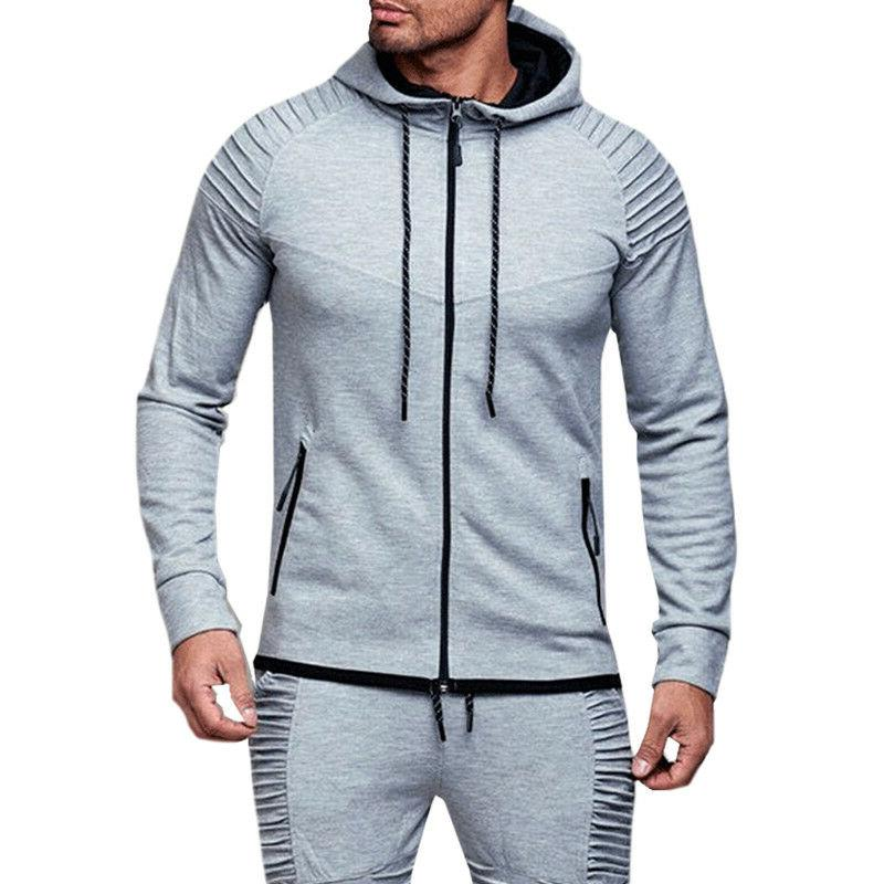 Men's Full Zip Up Hoodie Zipper Sweatshirt Long Sleeve Gym Tops