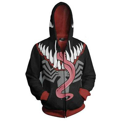 New Mens Venom Sweatshirts Zip Coat