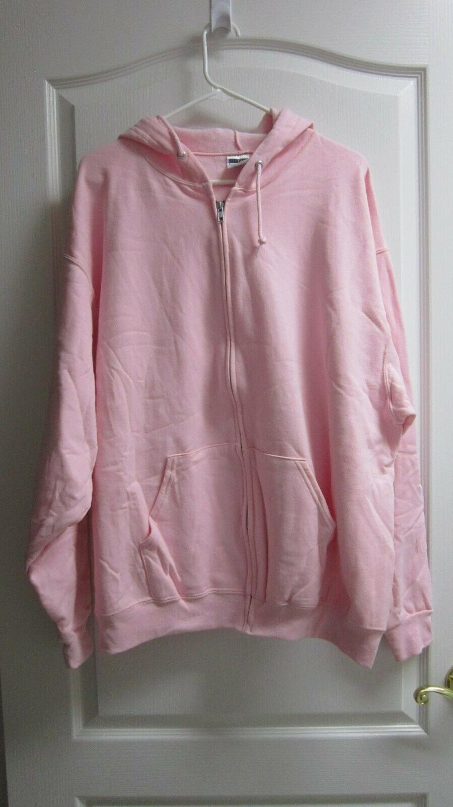 JERZEES NuBlend Full-Zip Hooded Pink Sweatshirt Fleece Hoodi