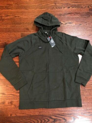 NWT$55 Under Armour Rival Full-Zip Men Hoodie OliveGreen