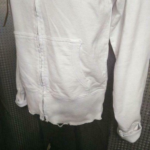 NWT Zip-up ,Hand Distressed ,White