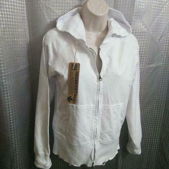 nwt zip up cotton hoodie hand distressed