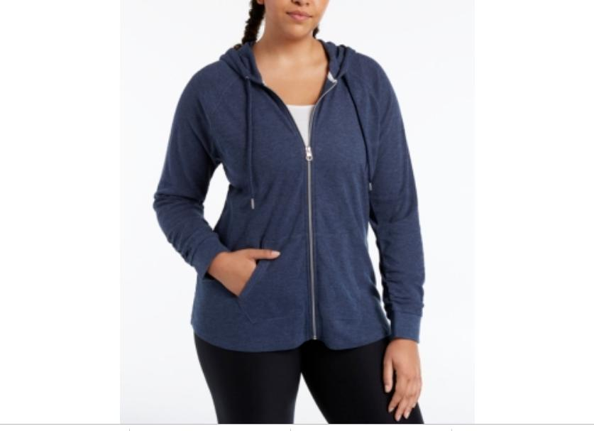 performance plus size 2x ruched sleeve zip