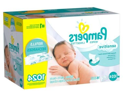 PAMPERS Sensitive Baby Wipes 1024ct. PERFUME FREE * NO SALES