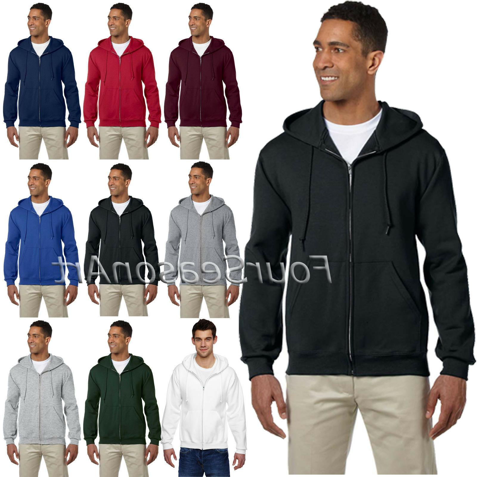 JERZEES Super Sweat Full Zip Hoodie Hooded Sweatshirt Mens S