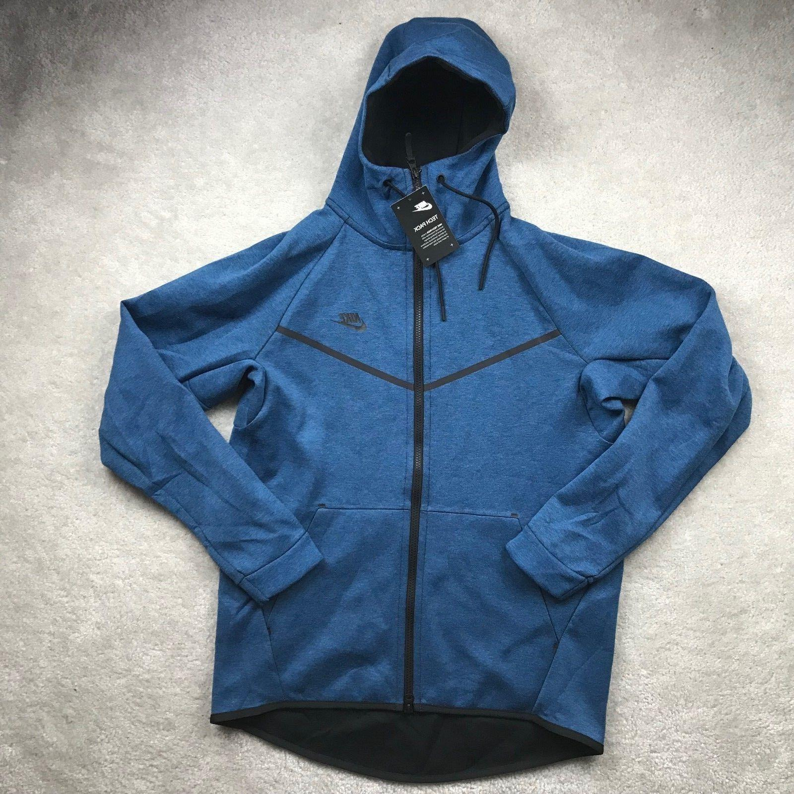Nike Tech Fleece Windrunner Blue Black Full Zip Hoodie 80514