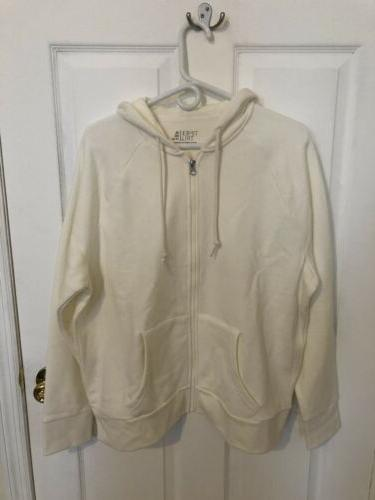 time and tru white zip front fleece