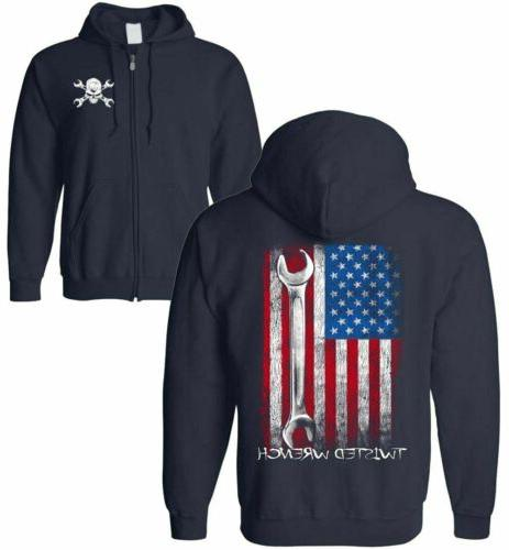 Twisted Wrench American Flag Mechanic ZIP-UP