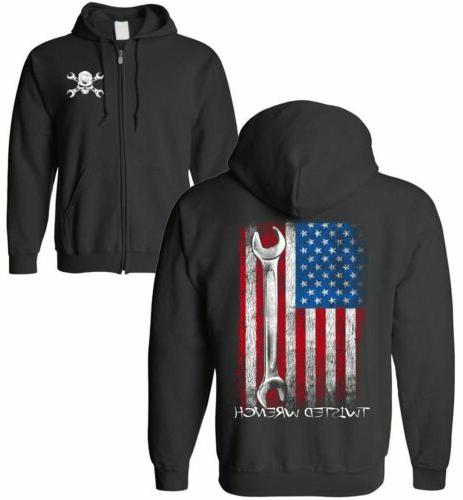 twisted wrench american flag mechanic zip up