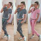 US 2Pcs Women's Tracksuit Zip V Neck Hoodies Sweatshirt Pant