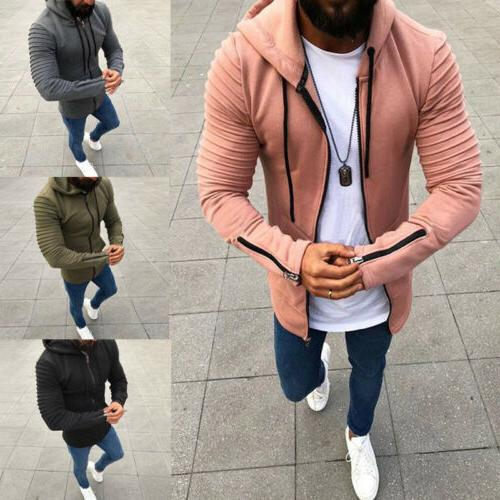 Men's Hoodie Hooded Zip Up Jacket Coat Athletic BodyBuilding