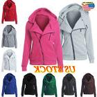 Women Ladies Zip Up Tops Hoodie Hooded Sweatshirt Coat Jacke