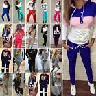 Womens Ladies Tracksuit 2pcs Tops Sweatshirt + Pants Set Spo