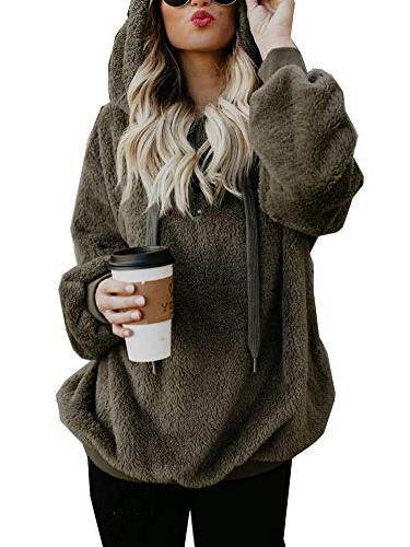 womens oversized sherpa pullover hoodie with pockets