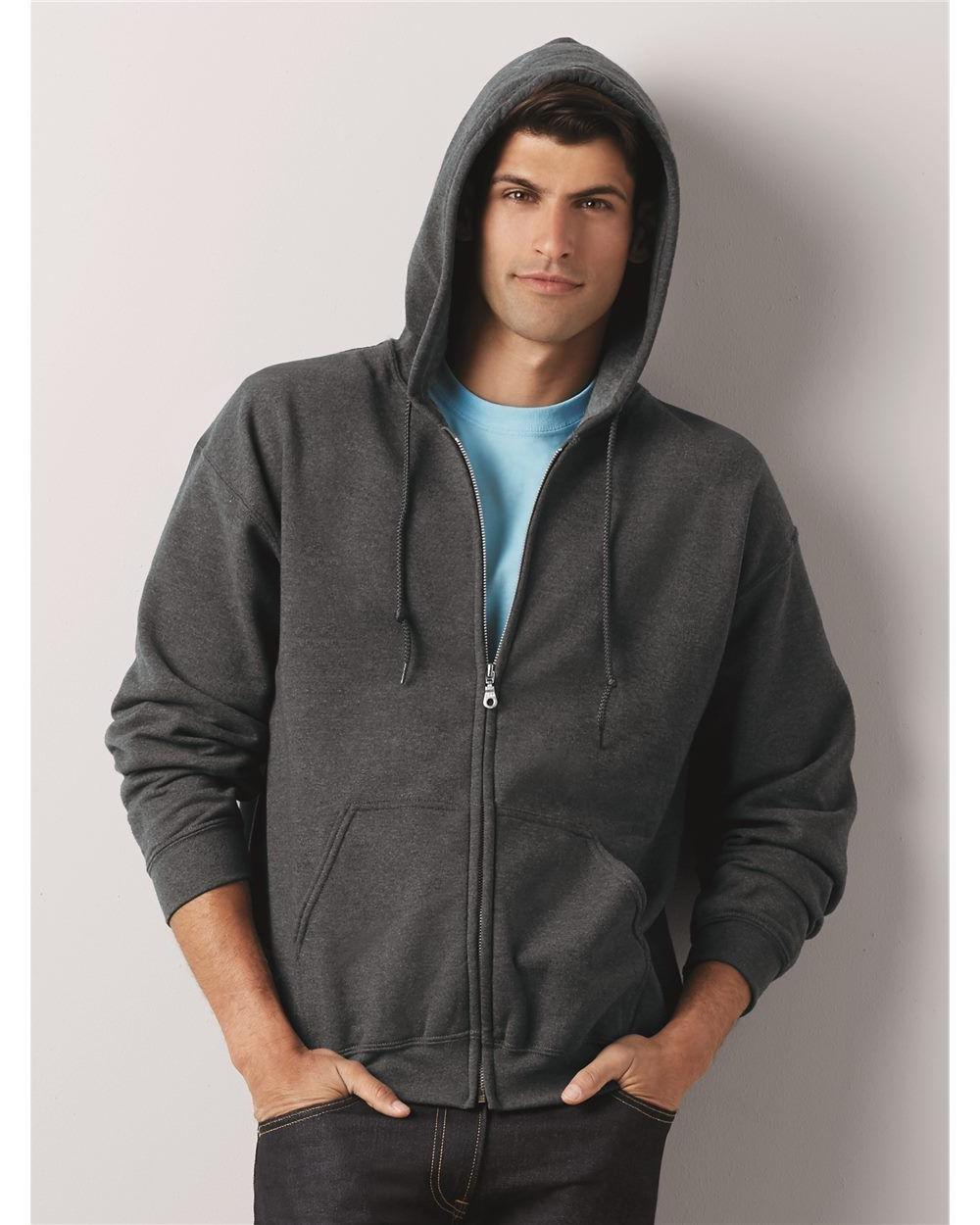 Gildan Zip Hoodie Heavy Blend Full Zip Hooded Sweatshirt Siz