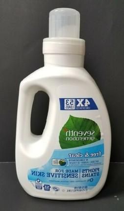 Seventh Generation Liquid Laundry 4X, Free & Clear, 40 oz