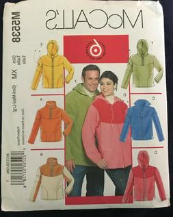 McCall's M5538 Sewing Pattern Hoodie Zip or Pullover Jacket