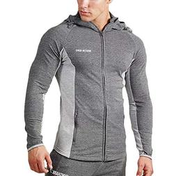 MECH-ENG Men's Active Gym Workout Fitness Zip Hoodie Jackets