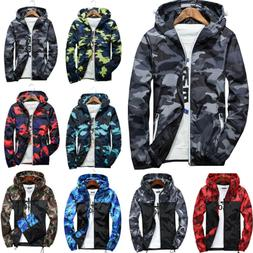 men camo windbreaker hoodie hooded sweatshirt zip