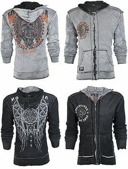 AFFLICTION Mens Hoodie Sweat Shirt ZIP UP Jacket REVERSIBLE