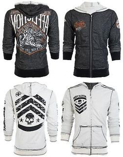 AFFLICTION Men HOODIE Sweat Shirt ZIP UP Jacket REVERSIBLE S