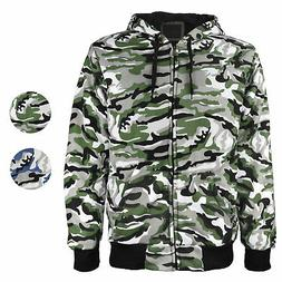 vkwear Men's Athletic Soft Sherpa Lined Slim Fit Camo Zip Ho