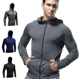 Men's Compression Hoodie Workout Gym Running Hooded Zip Up L