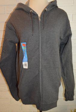 Men's Hanes Dark Gray Long Sleeve Full Zip Comfort Soft Hood