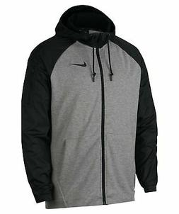 NIKE Men's Dry Hoodie Full Zip Jacket, Grey Heather/Black, S