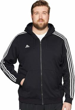 Adidas Men's Essential Cotton 3 Stripe Full-Zip Hoodie - Big