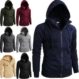 Men's Fleece Lined Hooded Coat Plain Hoodie Jacket Zip Up Ov
