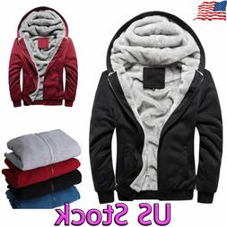 men s fleece lined thicken jacket sweatshirt