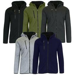 Men's Heavy Weight Sherpa Fleece Lined Hoodie Sweater Jacket