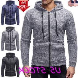 Men's Hoodie Long Sleeve Muscle Zip Up Pocket Sweater T Shir