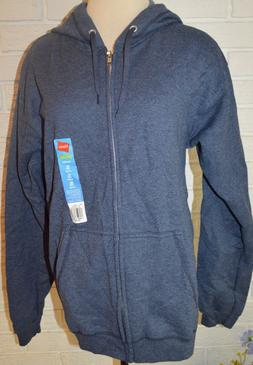Men's Hanes Navy Blue Long Sleeve Full Zip Comfort Soft Hood
