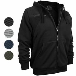 Men's Quilted Moto Soft Sherpa Fleece Lined Zip Up Athletic