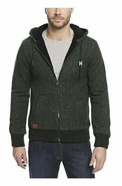 Buffalo Men's Sherpa Lined Full Zip Hoodie, L, XL, Green