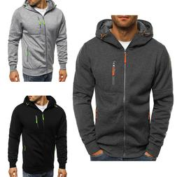 men s solid full zip up hoodie