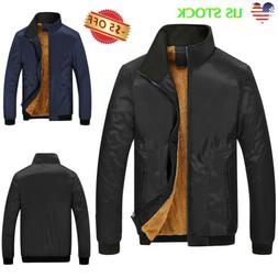 Men's Thick Fleece Fur Lined Hoodie Zip Up Coat Jacket Sweat