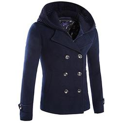 Allonly Men's Vintage Cotton Double Breasted Pea Coat Remova