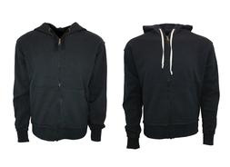 MEN'S VINTAGE  ZIP HOODIE SWEATSHIRT 100% COTTON BLACK .