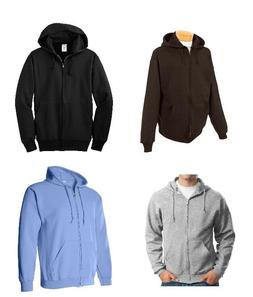 Jerzees Men's Zip Up Hoodie 8oz Black, Blue, Gray, Brown, Si