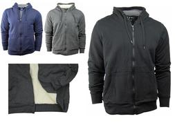 Men's Zip Up Sherpa Lined Hoodie/Hooded Jacket With Fleece L