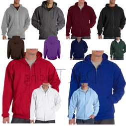 Men Unisex Solid Full Zip Up Hoodie Classic Zipper Hooded Sw