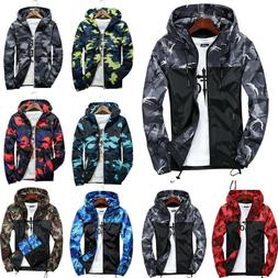Mens Camo Windbreaker Hoodie Hooded Sweatshirt Sports Jacket