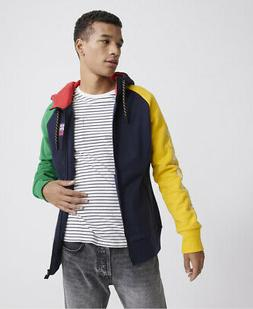 mens crafted colour block zip hoodie